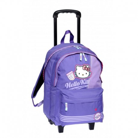 CARTABLE A ROULETTES TROLLEY HELLO KITTY Mauve 47 cm