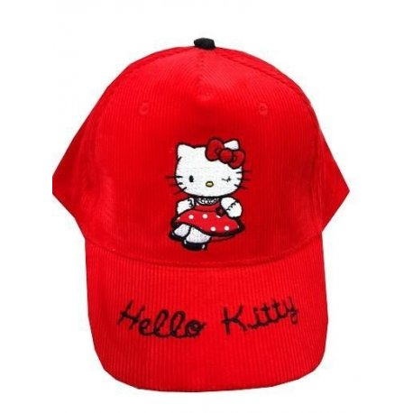 CASQUETTE HELLO KITTY velours rouge